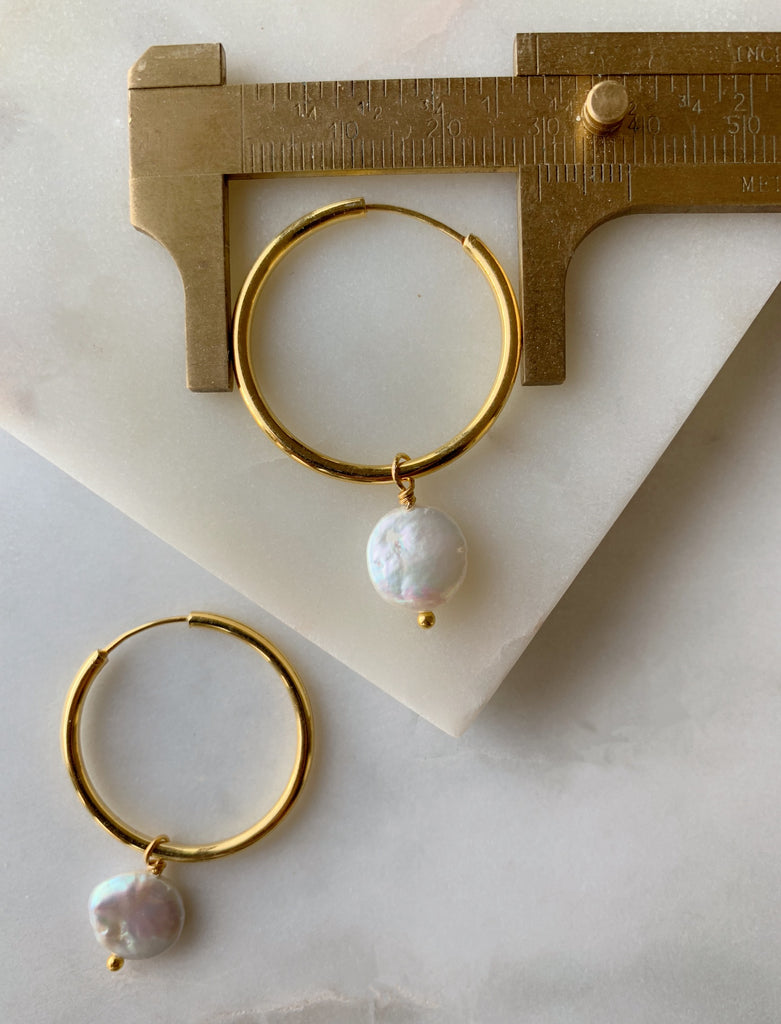 Pearl Hoop Earrings - 06