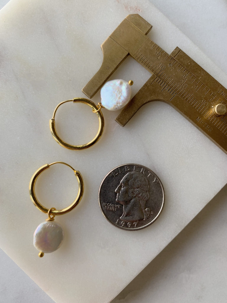 COIN Pearl SMALL Hoop Earrings