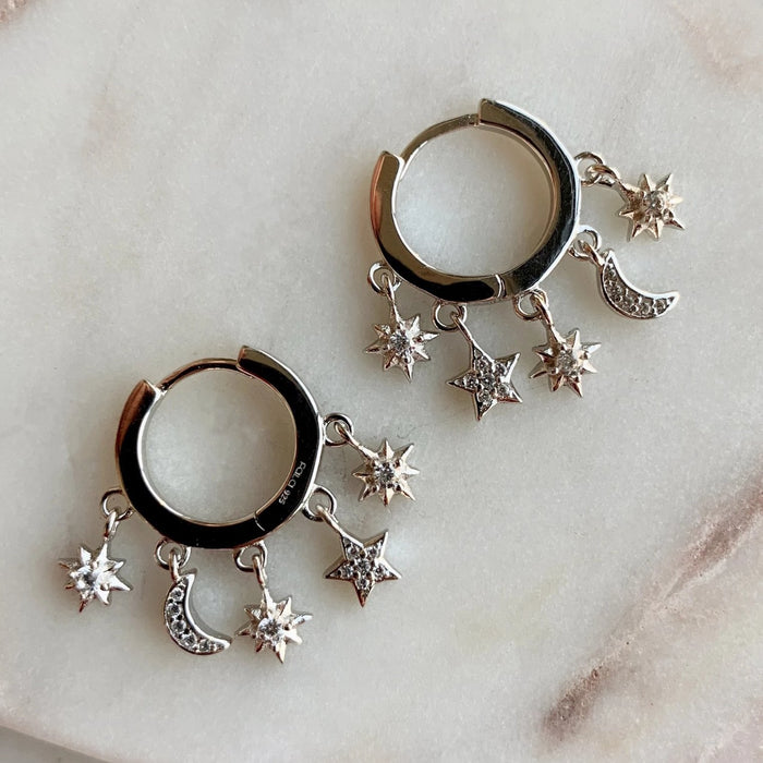 Charm Hoop Earrings - SILVER - Fala Jewelry