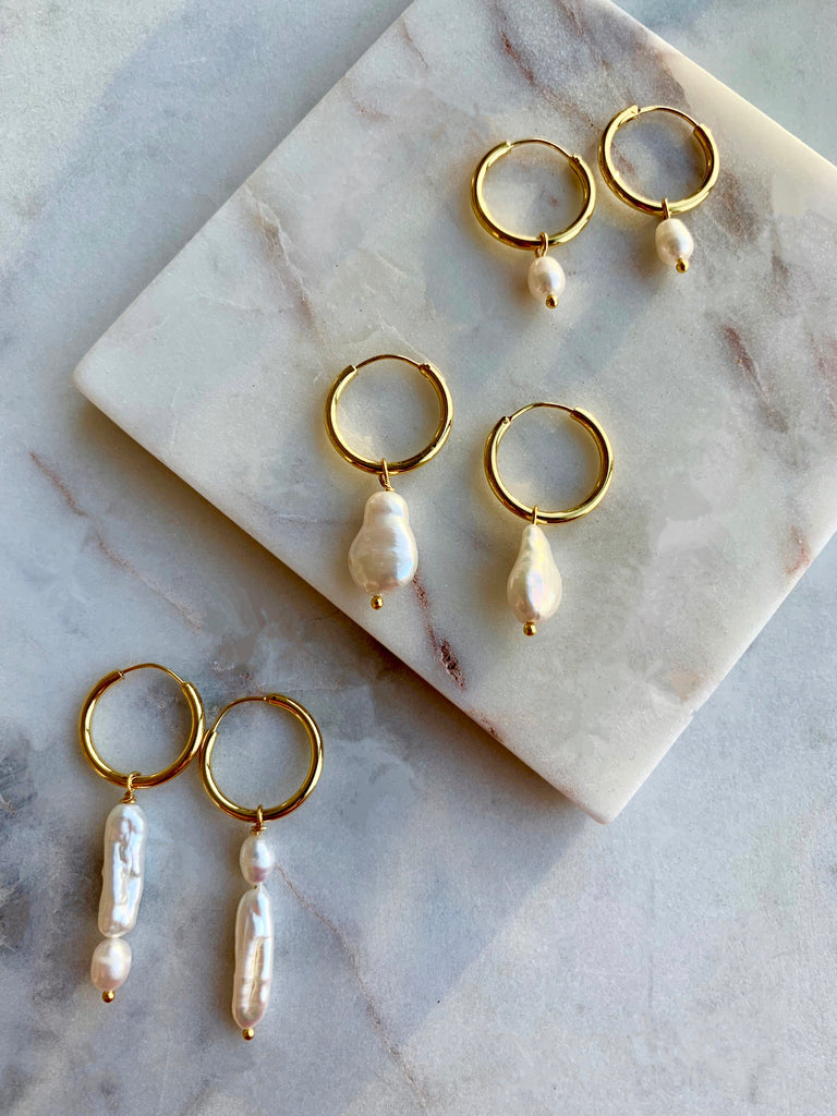Pearl Hoop Earrings - 02