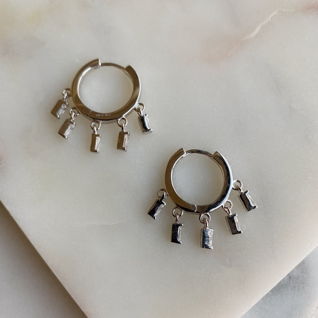 CHARM HOOP EARRINGS - SILVER