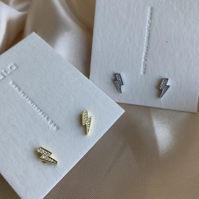 Lightning Bolt Stud Earrings - SILVER - GOLD