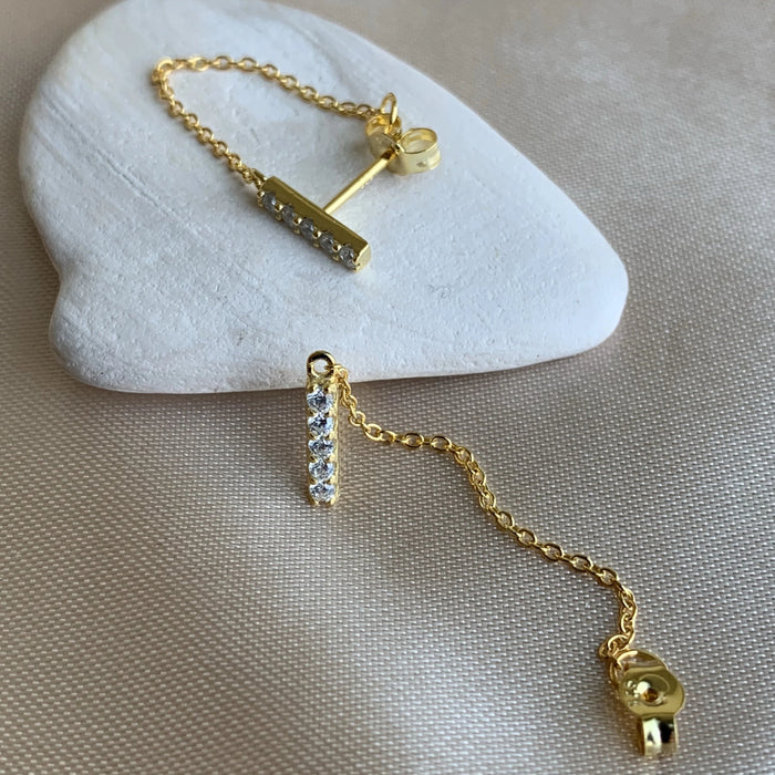 CHAIN STUD EARRINGS - GOLD