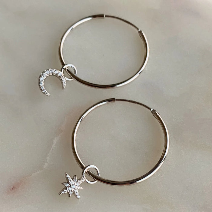 Star and Moon Hoop Earrings - Silver