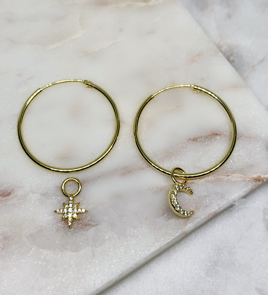 Star and Moon Hoop Earrings - GOLD