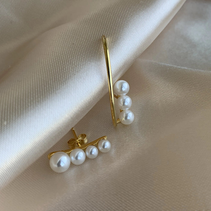 Pearl Suspender Earrings - GOLD