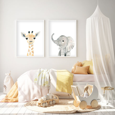 Baby Elephant - Safari Animals Nursery - The Small Art Project