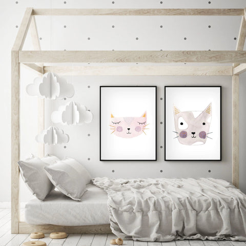 Set of 2 Kitty Cats - Nursery Wall Art - The Small Art Project