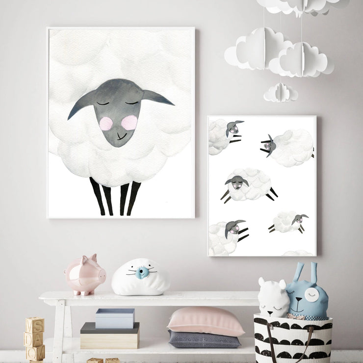 Mama & Baby Sheep - Watercolor Nursery Wall Art - The Small Art Project