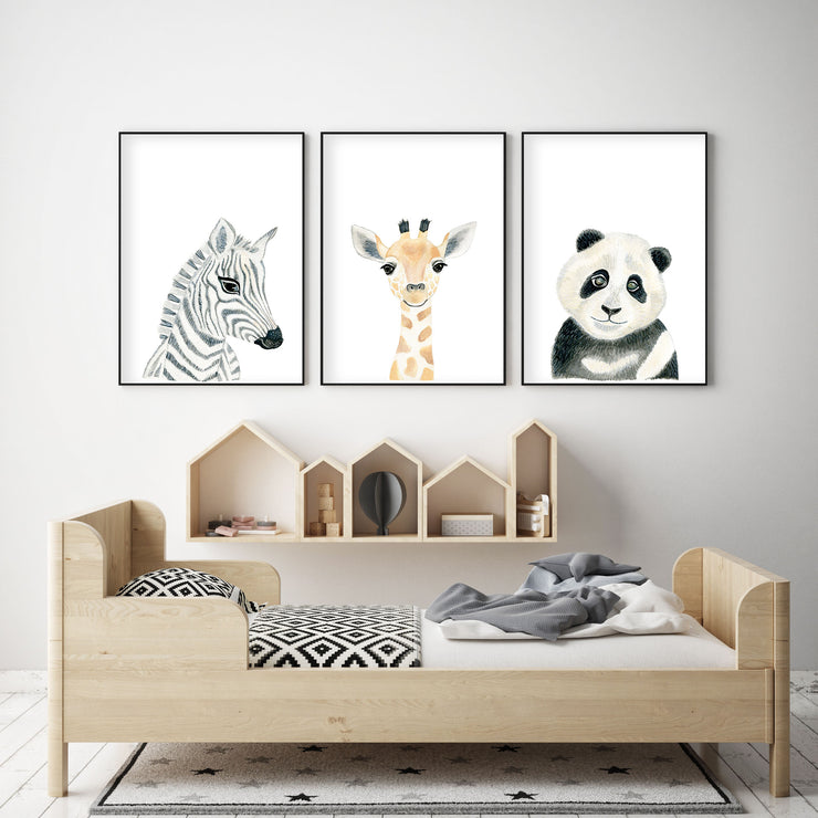 Set of 3 Safari Animals - Nursery Wall Art - The Small Art Project