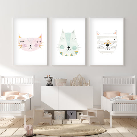 Set of 3 Kitty Cats - Nursery Wall Art - The Small Art Project