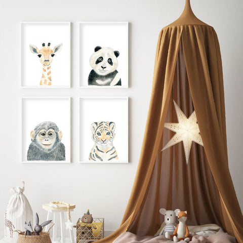 Baby Monkey - Safari Animals Nursery - The Small Art Project - Modern Nursery Prints