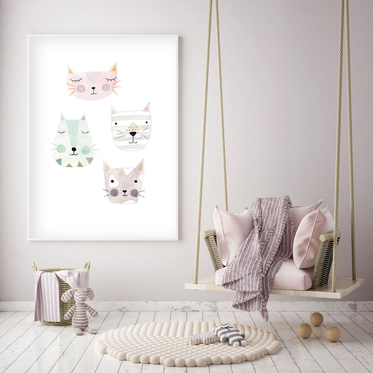 4 Kitty Cat Friends - Nursery Wall Art - The Small Art Project