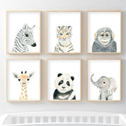 Set of 6 Safari Animals - Nursery Wall Art - The Small Art Project