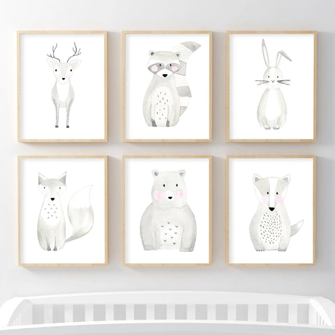 Set of 6 Woodland Animals - Watercolor Nursery Wall Art - The Small Art Project - Modern Nursery Prints