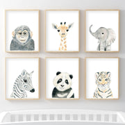 Set of 2 Safari Animals - Nursery Wall Art - The Small Art Project