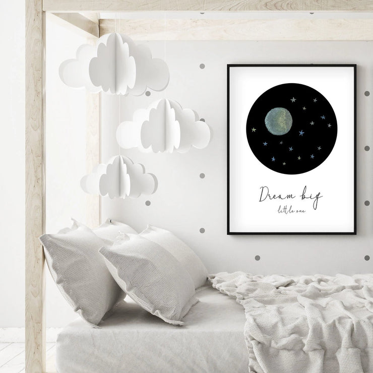 Dream Big Little One - Blue Moon and Stars Nursery - The Small Art Project