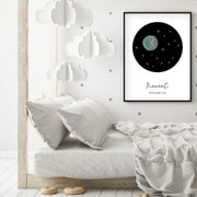 Customized Baby Name Poster - Blue Moon and Stars Nursery - The Small Art Project