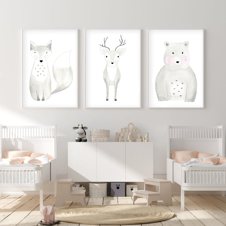 Set of 3 Woodland Animals - Watercolor Nursery Wall Art - The Small Art Project