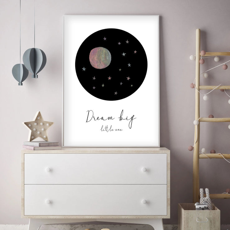 Dream Big Little One - Pink Moon and Stars Nursery - The Small Art Project