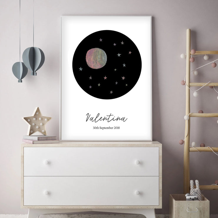 Customized Baby Name Poster - Pink Moon and Stars Nursery - The Small Art Project