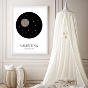 Customized Baby Name Poster - Pink Moon and Stars Nursery - The Small Art Project - Modern Nursery Prints