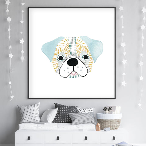 Giuseppe The Pug - Dog Nursery wall art - The Small Art Project - Modern Nursery Prints