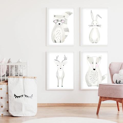 Set of 4 Woodland Animals - Watercolor Nursery Wall Art - The Small Art Project - Modern Nursery Prints