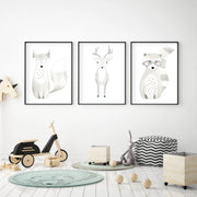 Set of 3 Woodland Animals - Watercolor Nursery Wall Art - The Small Art Project - Modern Nursery Prints