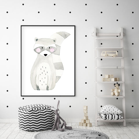 Rocky the Racoon - Woodland Nursery Wall Art - The Small Art Project