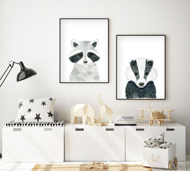 Set of 2 Baby Woodland Animals - Watercolor Nursery Wall Art - The Small Art Project