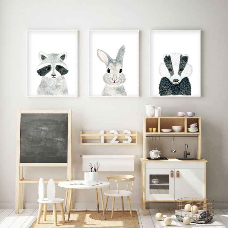 Baby Racoon - Woodland Animals Nursery - The Small Art Project