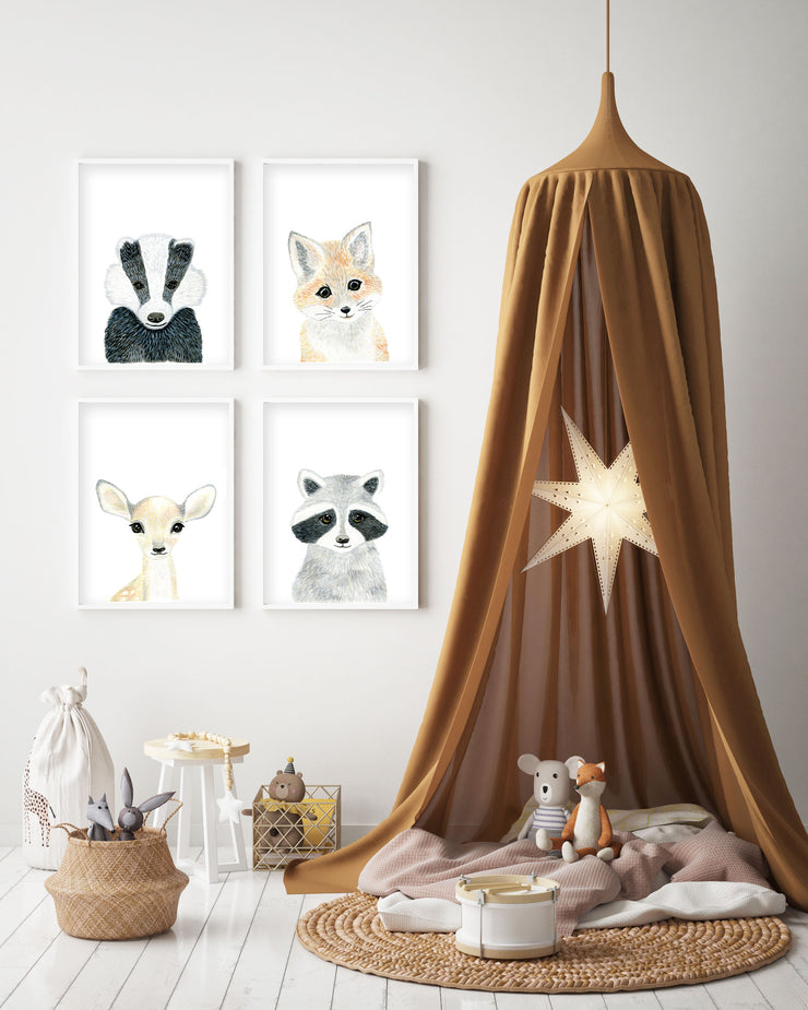Baby Fox - Woodland Animals Nursery - The Small Art Project