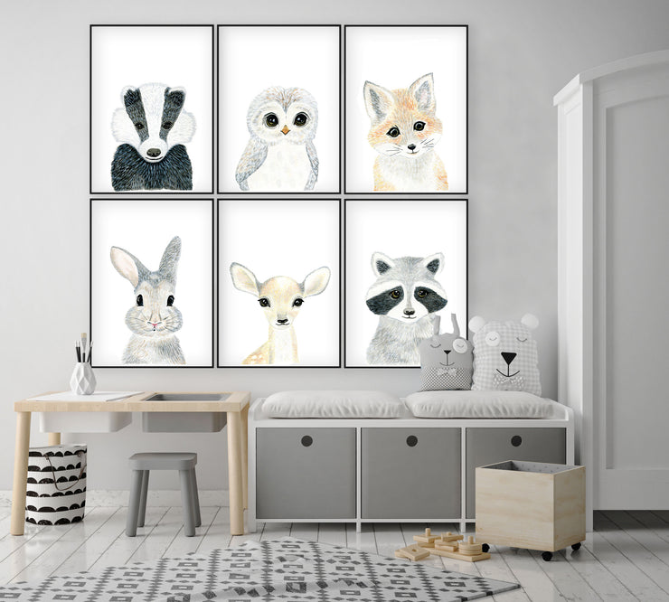 Set of 6 Baby Woodland Animals - Watercolor Nursery Wall Art - The Small Art Project