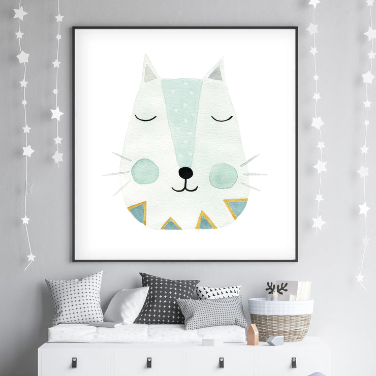 Green Kitty - Cat Nursery Wall Art - The Small Art Project