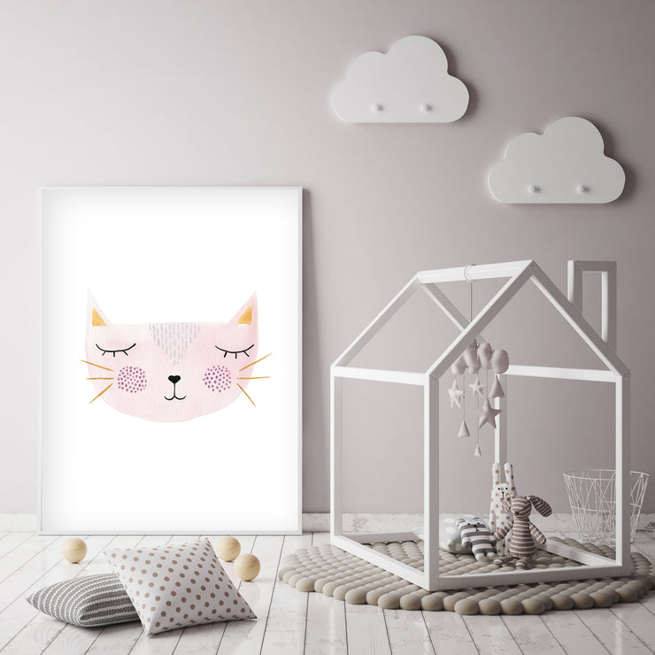 Pink Kitty - Cat Nursery Wall Art - The Small Art Project
