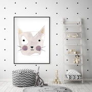 Dusty Rose Kitty - Cat Nursery Wall Art - The Small Art Project