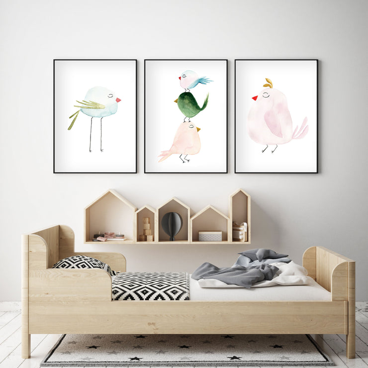 Set of 3 Pastel Birds - Watercolor Nursery Wall Art - The Small Art Project