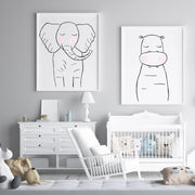 Black & White Elephant - Safari Animals Nursery - The Small Art Project