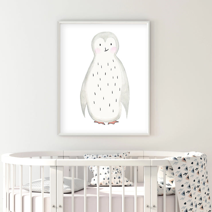Pippo the Penguin - Watercolor Nursery wall art - The Small Art Project
