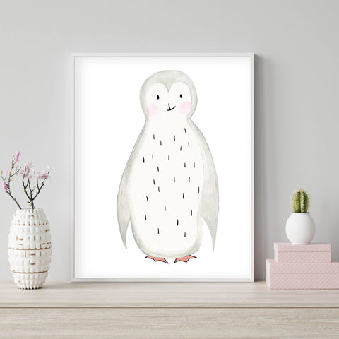 Pippo the Penguin - Watercolor Nursery wall art - The Small Art Project - Modern Nursery Prints