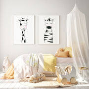 Set of 2 Black & White Animals - Safari Nursery wall art - The Small Art Project