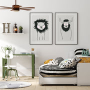 Black & White Lion - Safari Animals Nursery - The Small Art Project - Modern Nursery Prints