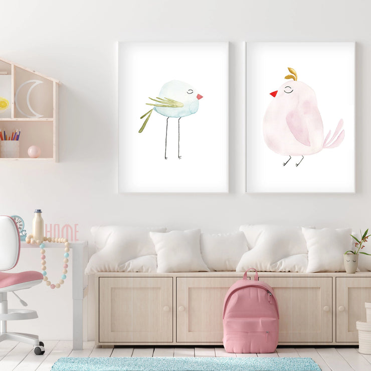 Pastel Pink Bird - Watercolor Nursery Wall Art - The Small Art Project