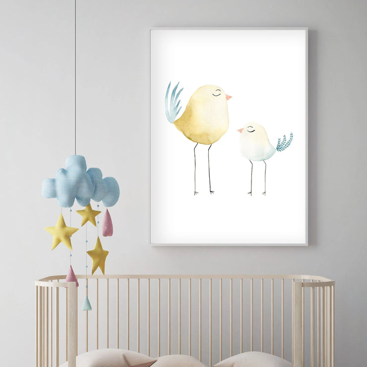 Set of 4 Pastel Birds - Watercolor Nursery Wall Art - The Small Art Project