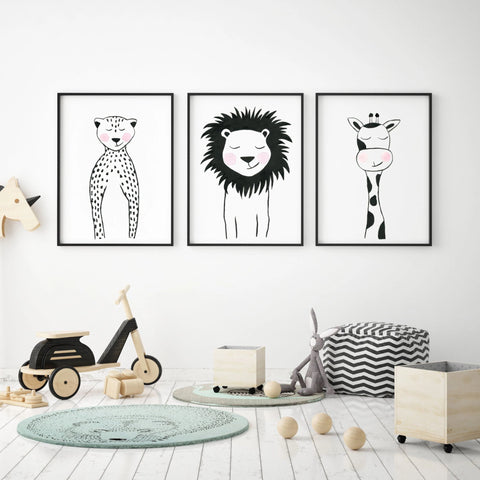 Set of 3 Black & White Animals - Safari Nursery Wall Art - The Small Art Project