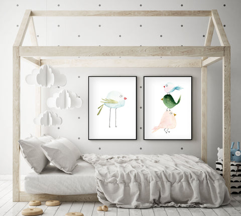 Pastel Blue Bird - Watercolor Nursery Wall Art - The Small Art Project