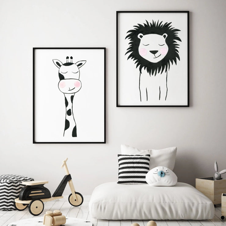 Black & White Lion - Safari Animals Nursery - The Small Art Project