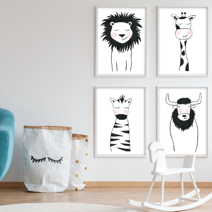 Set of 4 Black & White Animals - Safari Nursery Wall Art - The Small Art Project