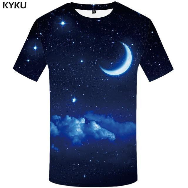 3d Design Space T-shirt Moon, Sky and Stars (Mens Sizing)